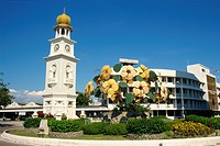 The Victoria clock tower in Penang, Malaysia, Southeast Asia, Asia
