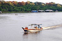 Local boat traffic in the Amazon area Brazil