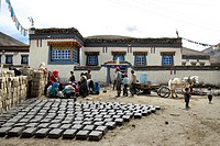 Drying clay bricks in Ra Chu village Tibet China