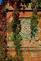 Tiled panel on decorative column in Moorish Gothic style, 19th century Quinta, Monserrate, Sintra, Portugal, Europe