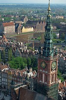Clock tower and city centre from a high view point in Gdansk, Poland, Europe