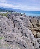 Eroded stratified limestone columns, Dolomite Point, Punakaiki Pancake rocks and blowholes, Paparoa National Park, Westland, South Island, New Zealand...