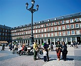 People at a popular meeting point in the Plaza Mayor in Madrid, Spain, Europe