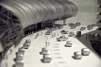 Miniature of an airport with people and cars, architecture, traffic