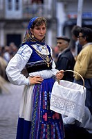Young woman in folk dress, New Fairs, Ponte de Lima, Minho, Portugal, Europe