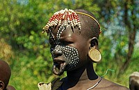 Mursi primitive people in Ethiopia