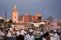 Open air restaurants on Place Jemaa el_Fna in the evening, Marrakech, Morocco, North Africa, Africa