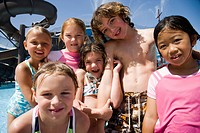 Happy kids at a water park