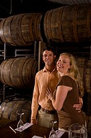 Couple on a wine tour and tasting