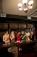 Group of people at a winery tour and tasting