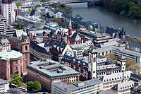Germany, Hessen, Frankfurt-am-Main, Main Tower view, Old Town, Romer Town Hall and Main River