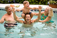 Three_generation family having fun in swimming pool