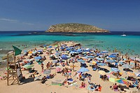 Panoramic view of Playa Compte to Ibiza, Spain