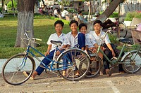 A group of boys with their bicycles in Vietnam, Indochina, Southeast Asia, Asia