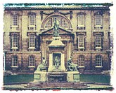 Polaroid Image Transfer of Founders Statue, King´s College, Cambridge, Cambridgeshire, England, United Kingdom, Europe