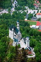 Neuschwanstein Castle from Tegelberg Mountain, Schwangau, Deutsche Alpenstrasse, Bavaria, Germany