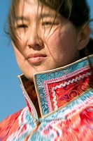 Lady in typical dress, Inner Mongolia, China