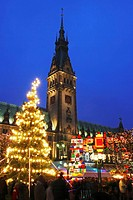 Christmas Market at Hamburg City Hall, Hamburg, Germany