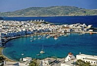 Greece, Mykonos, view of the harbor