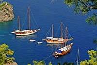Turkey, Oludeniz, near Fethiye, luxury yachts anchored in bay
