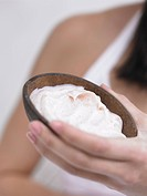 natural cosmetics in a coconut shell