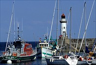 The lighthouse and the harbour of Le Palais Belle_I le Brittany France