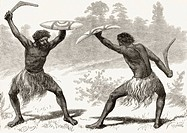 A Waddy Fight  From the book Australian Pictures by Howard Willoughby, published by The Religious Tract Society 1886