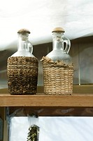 Glass bottles on shelf