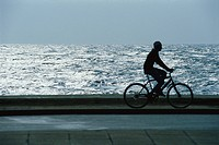 Man riding bicycle through waterside park