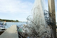 Tangled fishing nets on dock