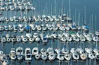 Boats moored in marina, Brittany, France