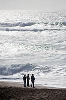 Three men, Point Reyes National Seashore. USA,California