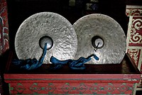 Ceremonial cymbals in Buddhist temple, Erdene Zuu monastery, north central Mongolia