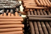 Dark and milk chocolate flutes. Xocolating´08, Barcelona, Catalonia, Spain