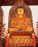 Gold seated Buddha statue, Heavenly King Hall, Jade Buddha Temple, Yufo Si, Shanghai, China, Asia
