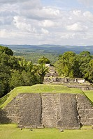 View from 130ft high El Castillo at the Mayan ruins at Xunantunich, San Ignacio, Belize, Central America