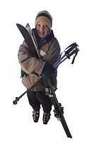 Boy with Downhill Ski Gear