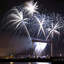 Halloween Fireworks display around the cranes at Harland and Wolf shipyard Belfast Northern Ireland Oct 2007