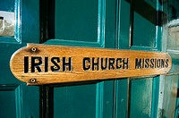 Irish Church Mission sign on a door,Dublin