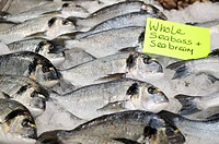 Selection of sea bream on ice at a indoor food market
