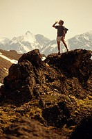 Hiker on Ridge Chugach Mts Summer SC AK