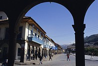 Colonial balconies, Plaza de Armas, Cuzco, Peru, South America