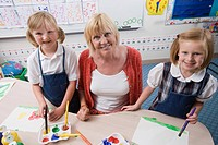Elementary Students and Teacher During Art Class