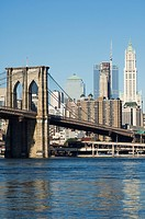 Manhattan skyline, Brooklyn Bridge and the East River, New York City, New York, United States of America, North America