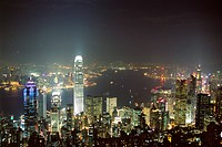 Hong Kong skyline by night from the Peak on Hong Kong Island, Hong Kong, China, Asia