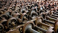 Rusty wheels on railroad track, Dire Dawa, Harar, Ethiopia