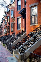 Row houses in a city, Boston, Suffolk County, Massachusetts, USA