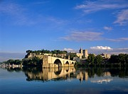 River Rhone, bridge and Papal Palace, Avignon, Provence, France, Europe