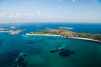 Aerial shot of St. Martins, Isles of Scilly, off Cornwall, United Kingdom, Europe
