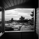 Havsutsikt Från En Sommarstugeveranda, Sea View Through Cottage B&W